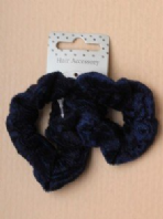Card of 2 navy blue velveteen small scrunchies (Code 2536)